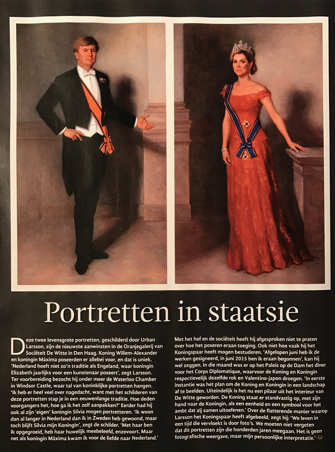 Media attention for the state portraits of Willem-Alexander and Maxima, which are to be hung in the De Witte Society in The Hague.