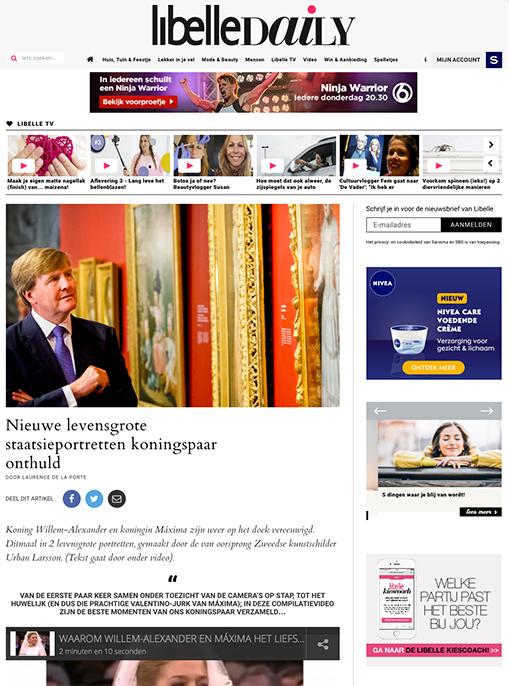 Media-aandacht voor de staatsieportretten van Willem- Alexander en Maxima die een plaats krijgen in de Sociëteit De Witte in Den Haag.